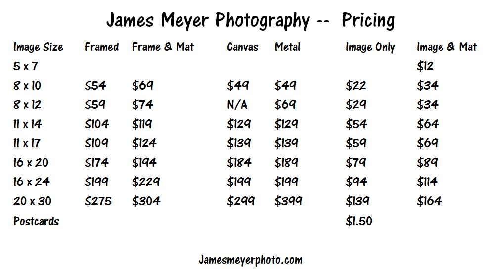 Print pricing by James Meyer Photography