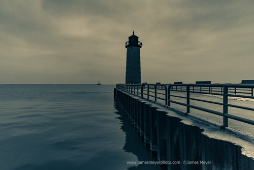 Pier Light and lighthouse in Milwaukee WI harbor