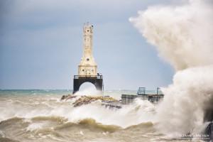 Huge waves on Lake Michigan by James Meyer