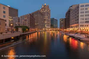 Kayaks on the Milwaukee River at Night