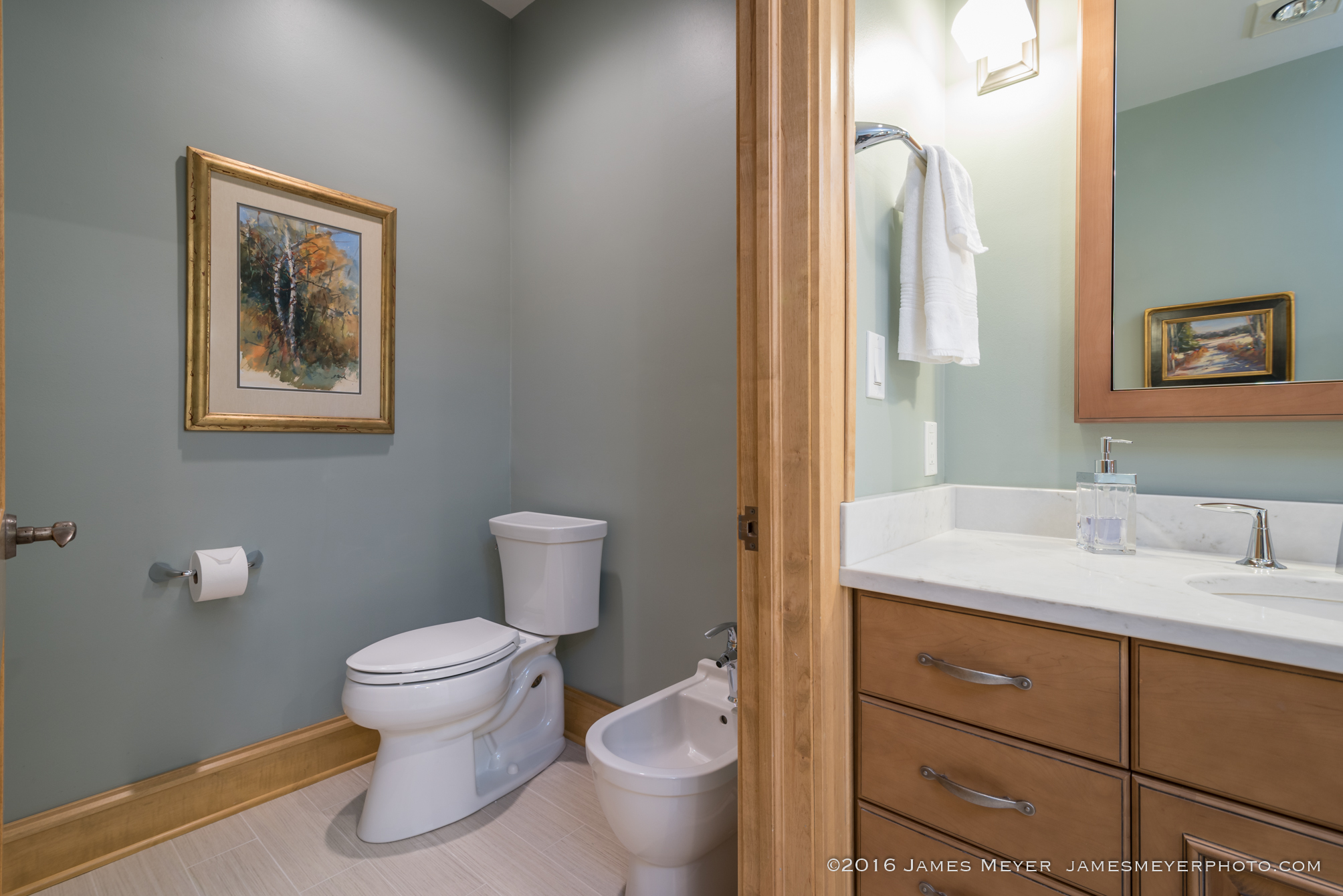 Waterfront condos bathroom remodel photographed by James Meyer Photography