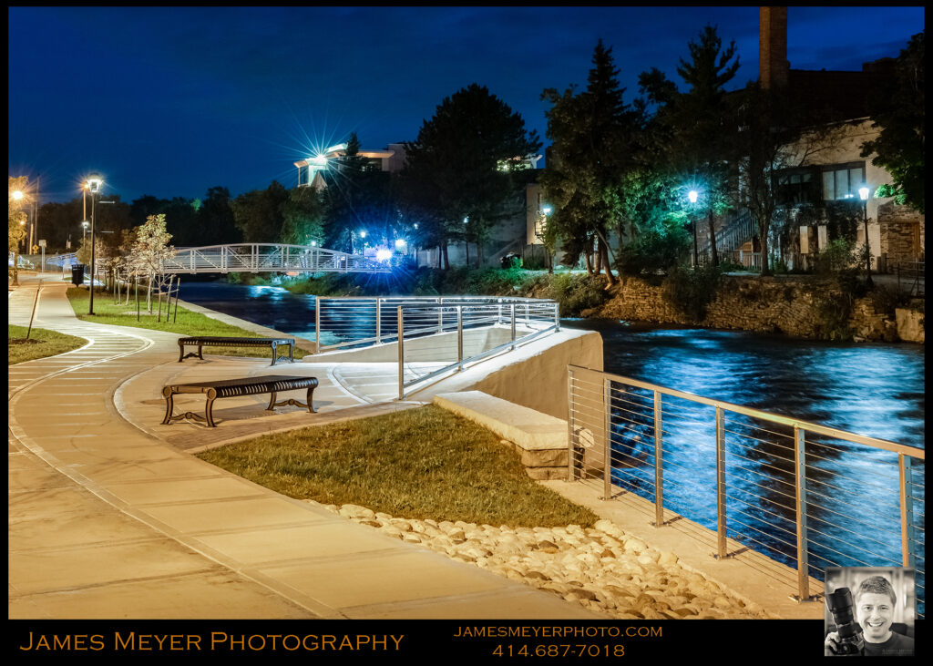 West Bend River Walk at Twilight by James Meyer